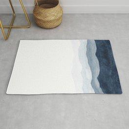 Indigo Abstract Watercolor Mountains Rug