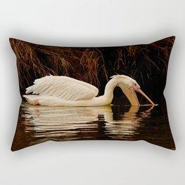 Wildlife in the lake: eating time Rectangular Pillow