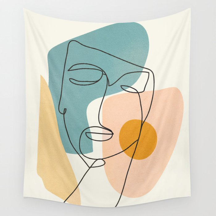 Abstract Face 25 Wall Tapestry