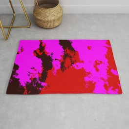 Ichisayo - Abstract Colorful Pink Red Camouflage Tie-Dye Style Pattern Rug