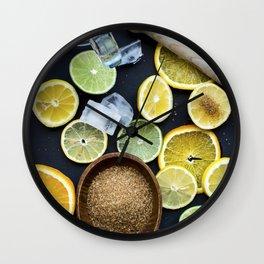 Preparing citruses for lemonade Wall Clock
