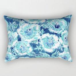 HIBISCUS BOUNTY Blue Tropical Watercolor Rectangular Pillow