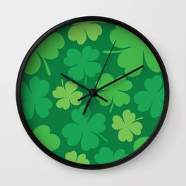 Lucky 4 Leaf Clover Pattern Wall Clock