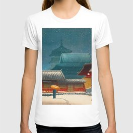 Vintage Japanese Woodblock Print Japanese Red Shinto Shrine Pagoda Winter Snow T-shirt