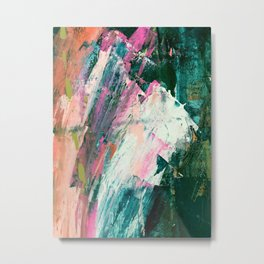 Meditate [2]: a vibrant, colorful abstract piece in bright green, teal, pink, orange, and white Metal Print