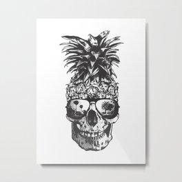 Pineapple Skull Head Metal Print