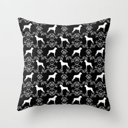 Boxer florals silhouette black and white floral pattern dog portrait dog breeds boxers Throw Pillow