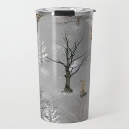 Owls and Foxes in Snowy Trees Travel Mug