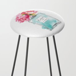Perfume, watercolor, perfume bottle, with flowers, Teal, Silver, peonies, Fashion illustration Counter Stool