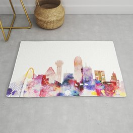 Dallas Texas City Pink Skyline Poster Rug