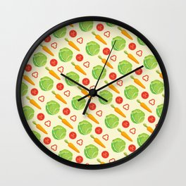 Kitchen Pattern Neck Gaiter Vegetables Carrots Lettuce Tomato Peppers Gator Wall Clock