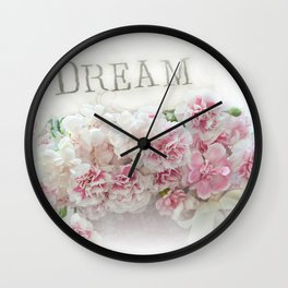 Dreamy Pink Roses Floral Print - Romantic Shabby Chic Dream Floral Home Decor Wall Clock