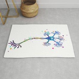 Motor Neuron Art Brain Cell Anatomy Art Colorful Blue Purple Watercolor Medical Science Art Rug