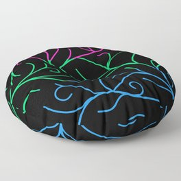 Black Velvet, Polysexual Flag Vines Floor Pillow
