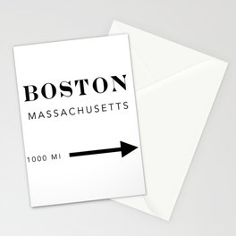 Boston Massachusetts City Miles Arrow Stationery Cards