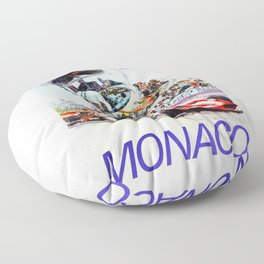 Gran Prix de Monaco, 1971, original vintage poster Floor Pillow