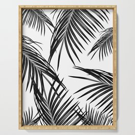 Black Palm Leaves Dream #1 #tropical #decor #art #society6 Serving Tray