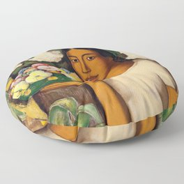 Mujer con Fiores (Bell Flowers, Dahlia & Calla Lilies) Flower Seller portrait by Alfredo Martinez Floor Pillow