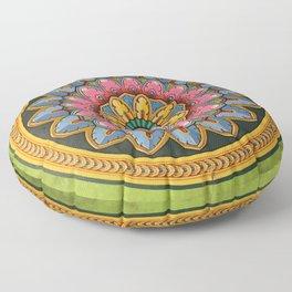 Indian Wall Flower Mandala green Floor Pillow