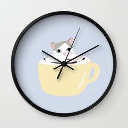 Cat latter art yellow mug Wall Clock