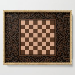 Mandala Chessboard & Checkers Board Game - Coffee  Cream Serving Tray