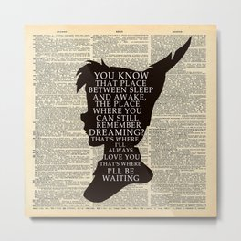 Peter Pan Over Vintage Dictionary Page - That Place Metal Print