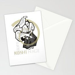Aikido koshi nage Stationery Cards