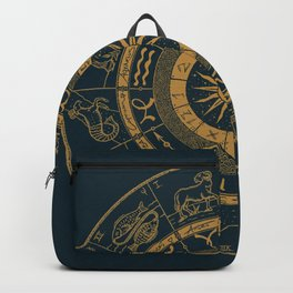 Vintage Zodiac & Astrology Chart | Royal Blue & Gold Backpack