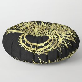 GOLDEN CURL - SHINING PAINTING ON BLACK BACKGROUND Floor Pillow