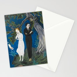 The Couple atop the Cliff portrait painting by Nils Dardel Stationery Cards
