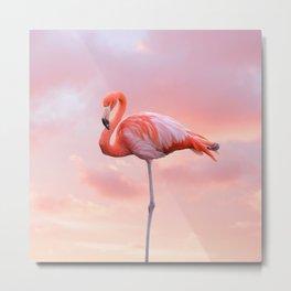 Pink Flamingo Sunset Metal Print