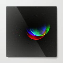 Three Neon Moons Metal Print