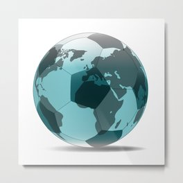 Football World Globe Metal Print