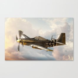 P-51 Mustang World War II Fighter Plane Profile Canvas Print
