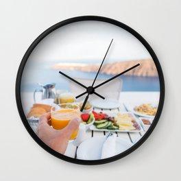 Santorini breakfast at luxury hotel Wall Clock