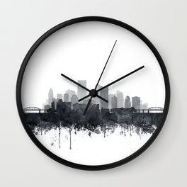 Pittsburgh Skyline Black & White Watercolor by Zouzounio Art Wall Clock