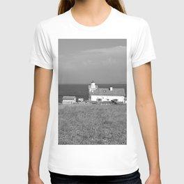 beach front lighthouse medulin croatia istria europe black white T-shirt