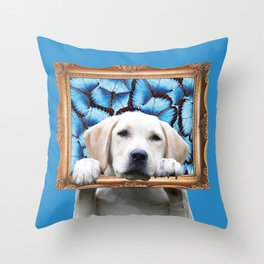 Retriever with Frame and Morpho Butterfies Throw Pillow