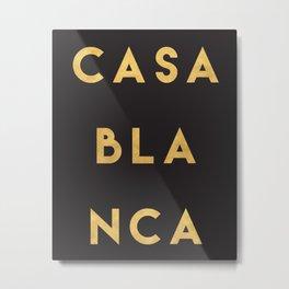 CASABLANCA MOROCCO GOLD CITY TYPOGRAPHY Metal Print