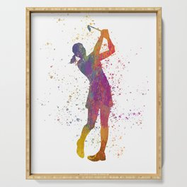 Female golf player competing in watercolor 04 Serving Tray