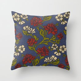 Vintage style victorian floral upholstery fabric Throw Pillow