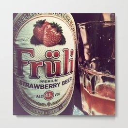 Strawberry Beer Metal Print