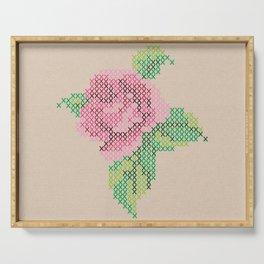 Rose cross stitch Serving Tray