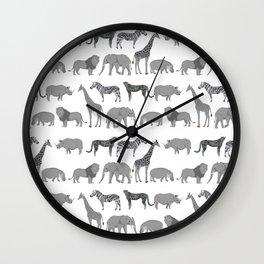 Safari animals minimal grey and white zebra giraffe cheetah hippo rhino nursery Wall Clock