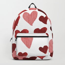Valentine's Day Watercolor Hearts - red Backpack