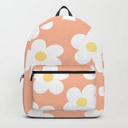 Peach 70's Retro Flower Power Backpack