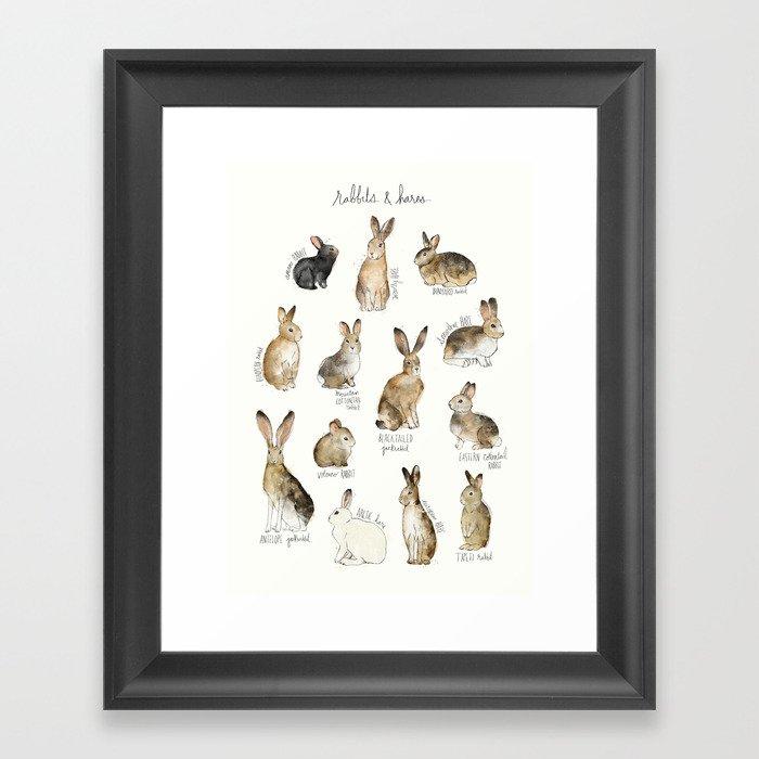 Rabbits & Hares Gerahmter Kunstdruck