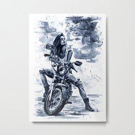 Biker Girl Metal Print