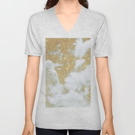 Abstract white faux gold glitter clouds pattern Unisex V-Neck