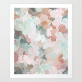 Blush Pink Mint Green Blue Coral Peach Abstract Flower Wall Art Springtime Painting Modern Wall Art Kunstdrucke